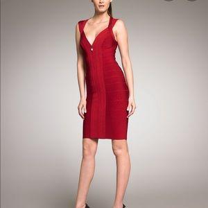Herve Leger Red Front Zip Bandage Dress